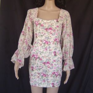 Frederick's of Hollywood Pink Floral Roses Dress S